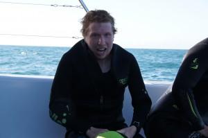 Jerker enjoying (?) the dolphin swimming